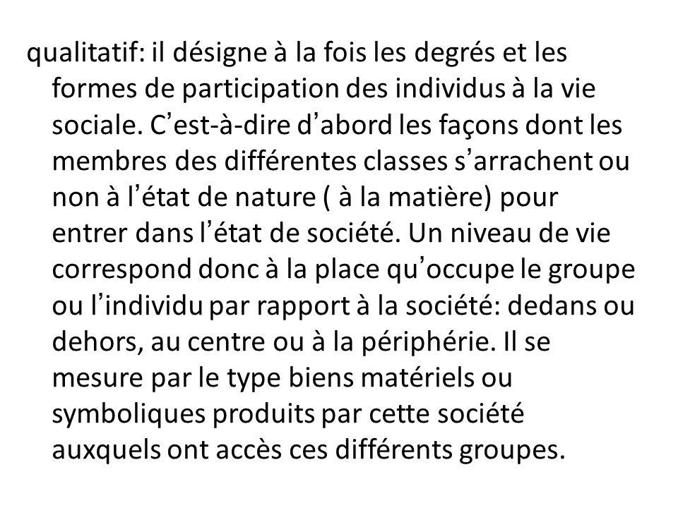 qualitatif: il désigne à la fois les degrés et les formes de participation des individus à la vie sociale. Cest-à-dire dabord les façons dont les memb