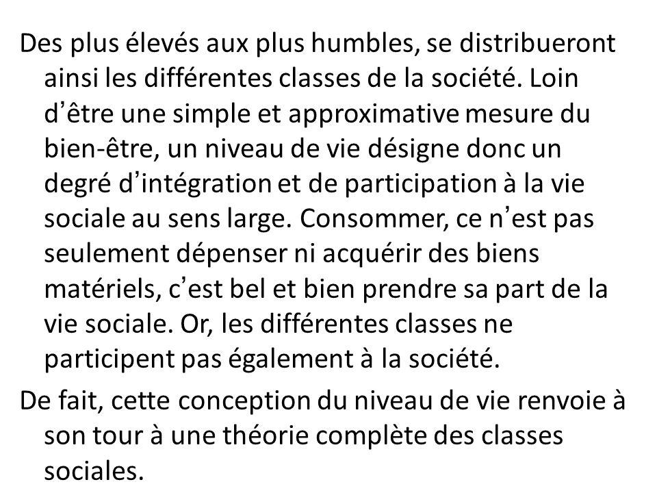 Des plus élevés aux plus humbles, se distribueront ainsi les différentes classes de la société. Loin dêtre une simple et approximative mesure du bien-