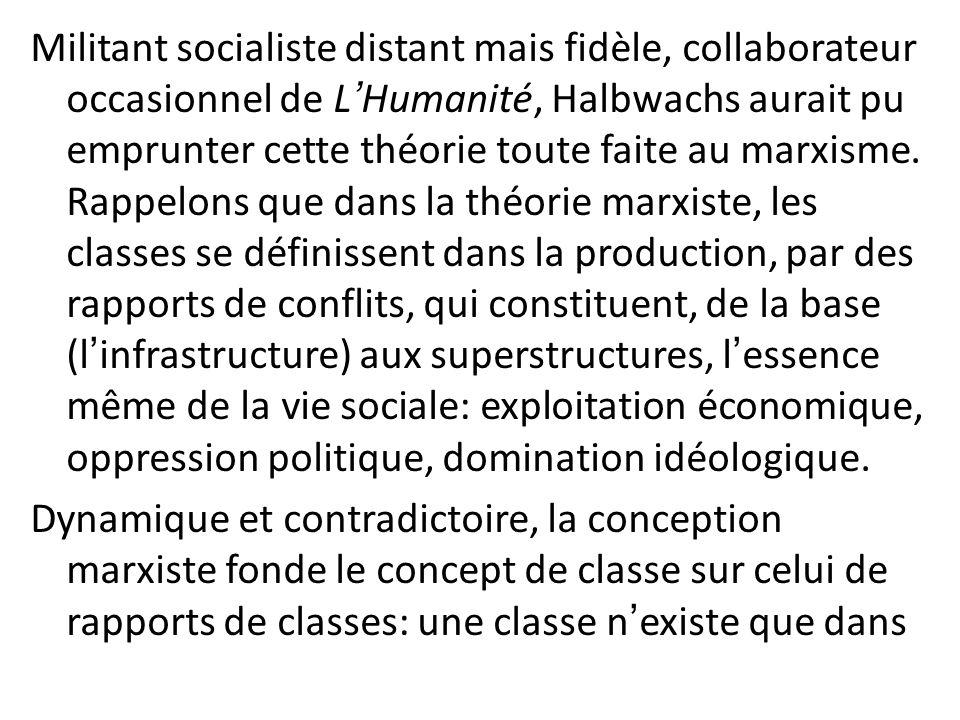 Militant socialiste distant mais fidèle, collaborateur occasionnel de LHumanité, Halbwachs aurait pu emprunter cette théorie toute faite au marxisme.