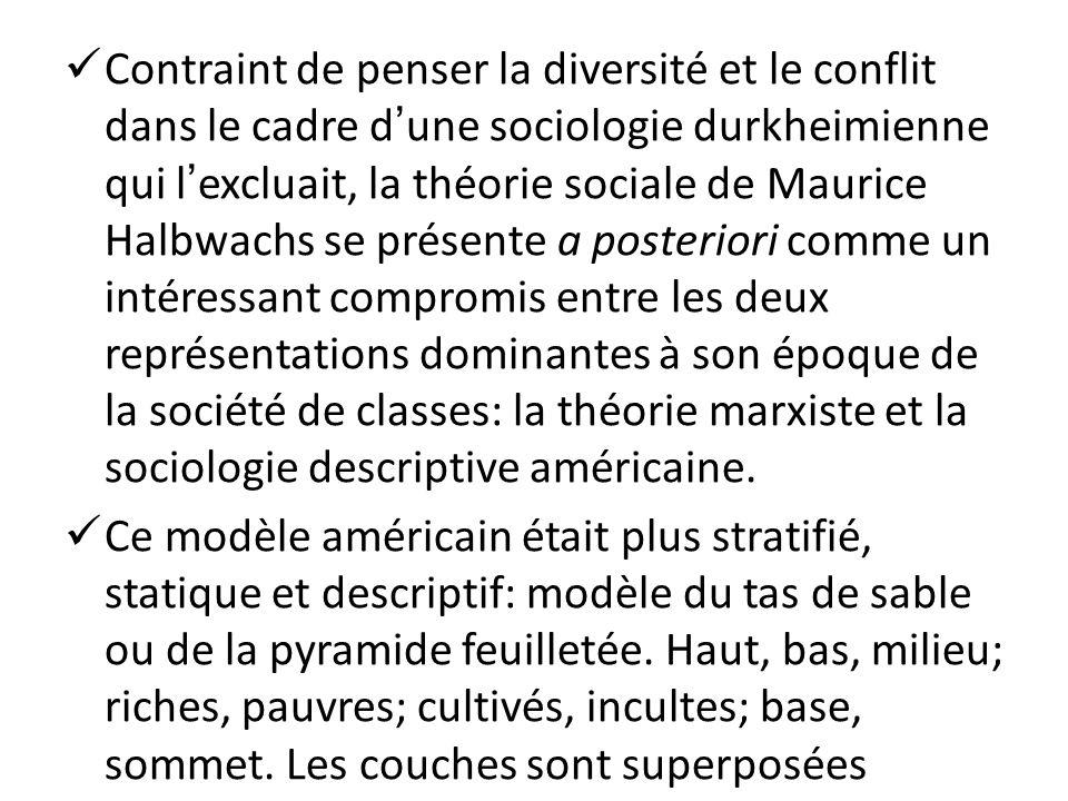 Contraint de penser la diversité et le conflit dans le cadre dune sociologie durkheimienne qui lexcluait, la théorie sociale de Maurice Halbwachs se p
