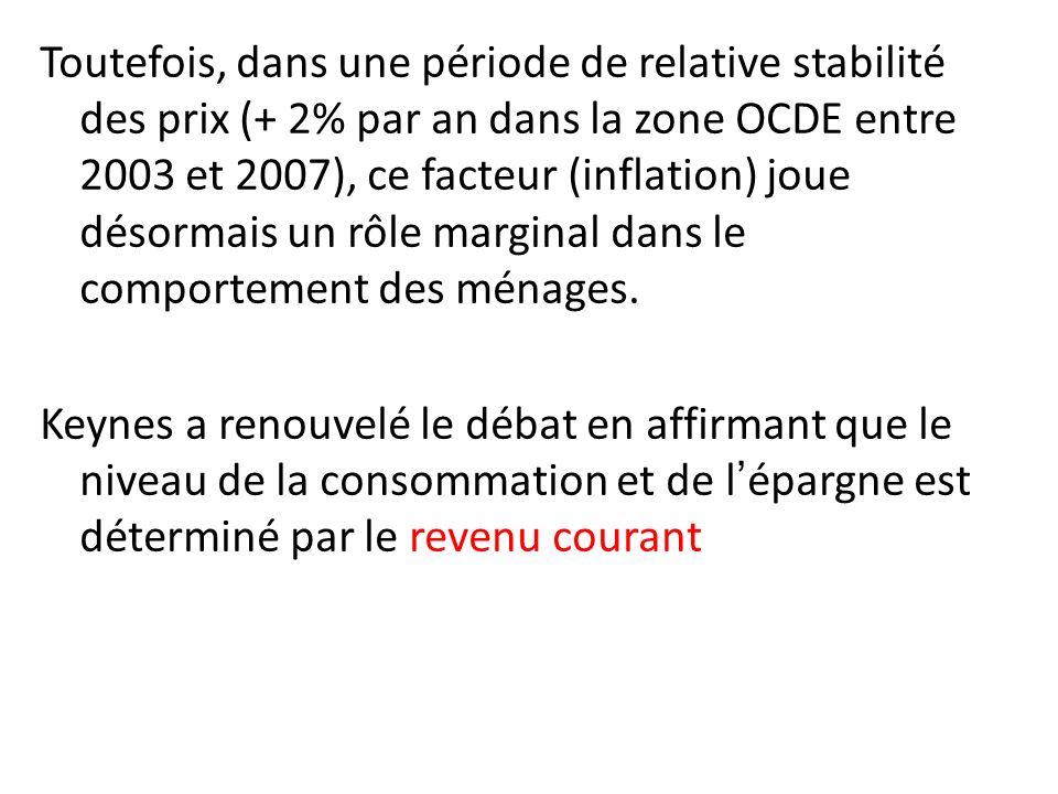 Toutefois, dans une période de relative stabilité des prix (+ 2% par an dans la zone OCDE entre 2003 et 2007), ce facteur (inflation) joue désormais u