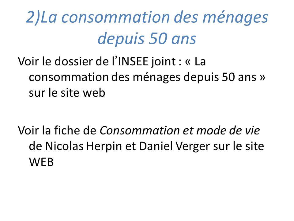 2)La consommation des ménages depuis 50 ans Voir le dossier de lINSEE joint : « La consommation des ménages depuis 50 ans » sur le site web Voir la fi