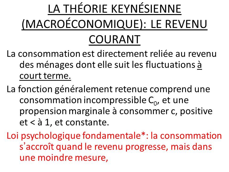 LA THÉORIE KEYNÉSIENNE (MACROÉCONOMIQUE): LE REVENU COURANT La consommation est directement reliée au revenu des ménages dont elle suit les fluctuatio