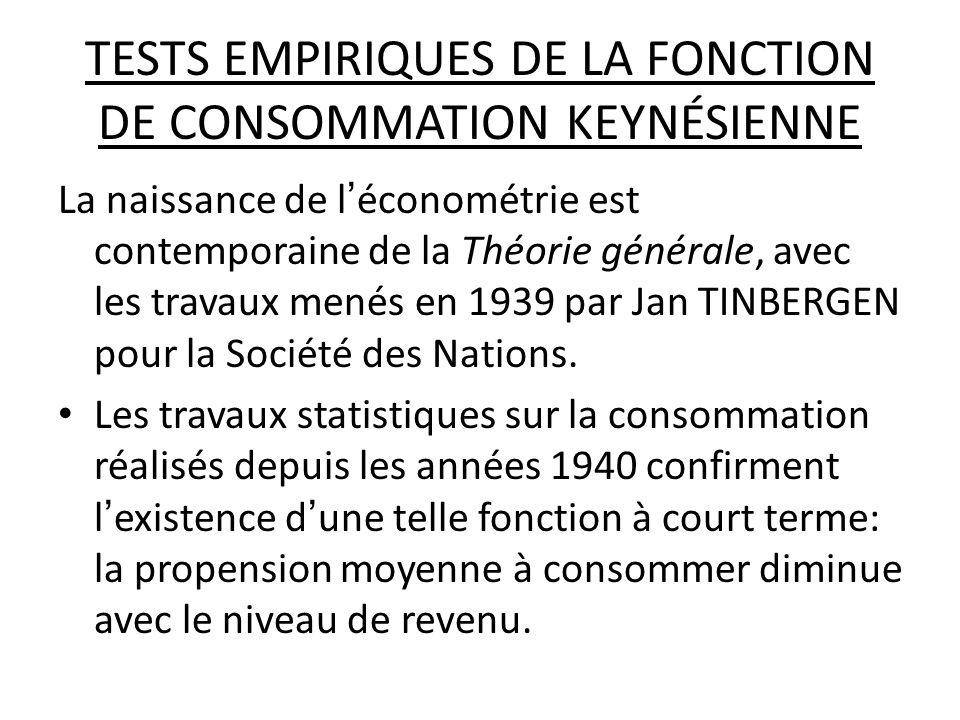 TESTS EMPIRIQUES DE LA FONCTION DE CONSOMMATION KEYNÉSIENNE La naissance de léconométrie est contemporaine de la Théorie générale, avec les travaux me
