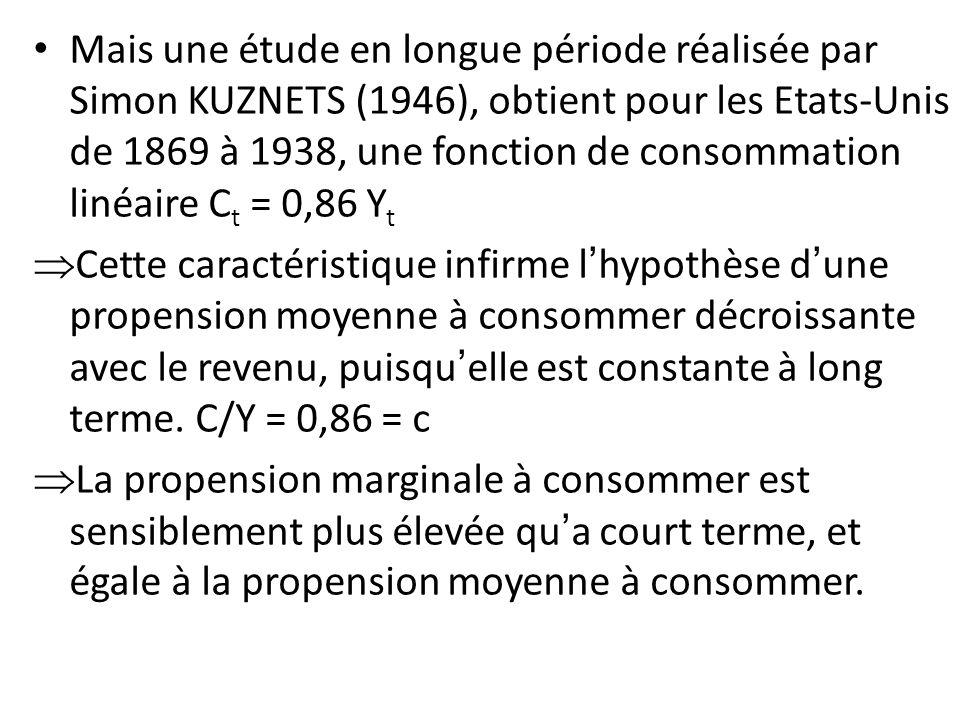 Mais une étude en longue période réalisée par Simon KUZNETS (1946), obtient pour les Etats-Unis de 1869 à 1938, une fonction de consommation linéaire