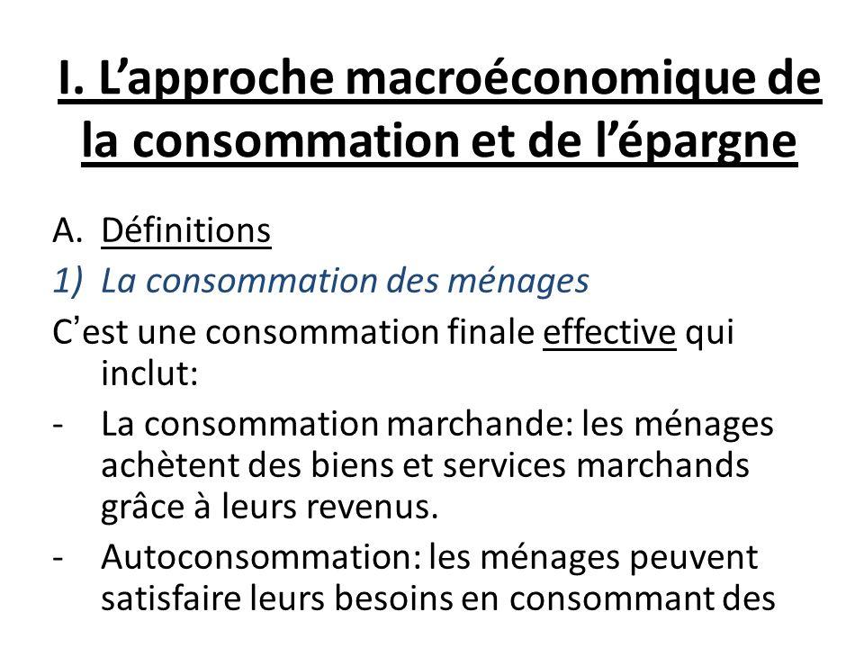 I. Lapproche macroéconomique de la consommation et de lépargne A.Définitions 1)La consommation des ménages Cest une consommation finale effective qui