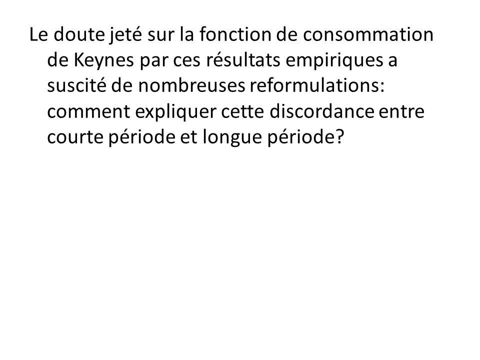 Le doute jeté sur la fonction de consommation de Keynes par ces résultats empiriques a suscité de nombreuses reformulations: comment expliquer cette d