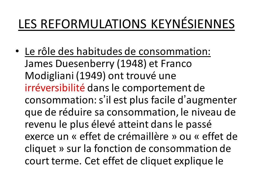 LES REFORMULATIONS KEYNÉSIENNES Le rôle des habitudes de consommation: James Duesenberry (1948) et Franco Modigliani (1949) ont trouvé une irréversibi