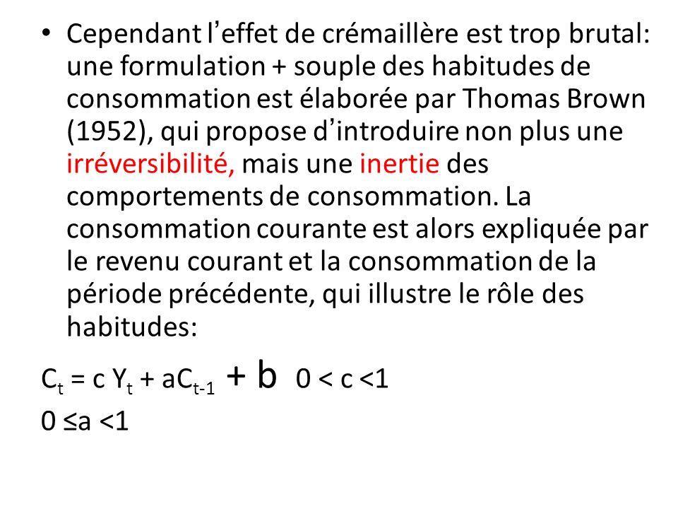Cependant leffet de crémaillère est trop brutal: une formulation + souple des habitudes de consommation est élaborée par Thomas Brown (1952), qui prop