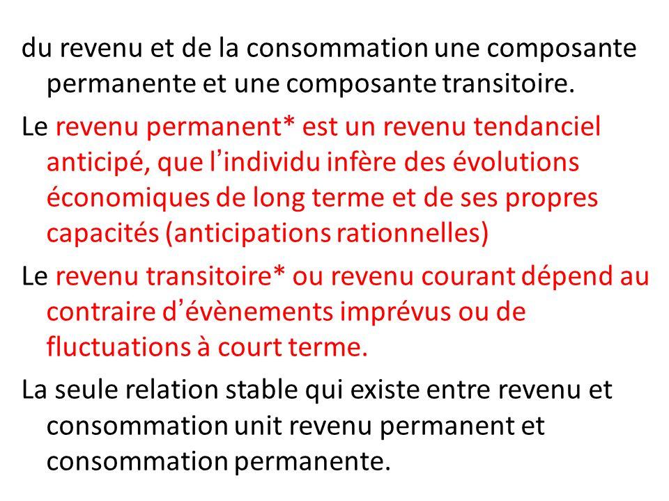 du revenu et de la consommation une composante permanente et une composante transitoire. Le revenu permanent* est un revenu tendanciel anticipé, que l