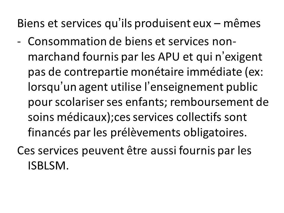 Biens et services quils produisent eux – mêmes -Consommation de biens et services non- marchand fournis par les APU et qui nexigent pas de contreparti