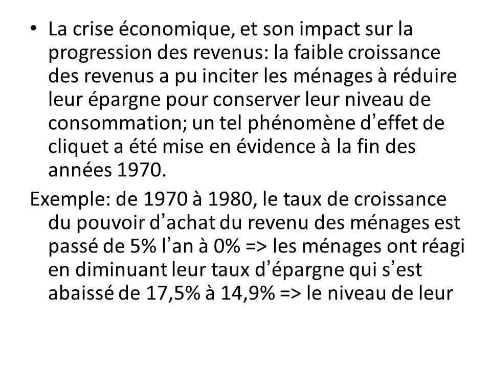 La crise économique, et son impact sur la progression des revenus: la faible croissance des revenus a pu inciter les ménages à réduire leur épargne po