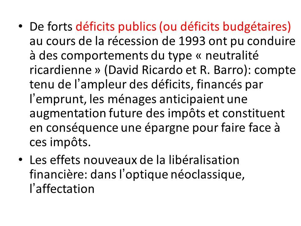De forts déficits publics (ou déficits budgétaires) au cours de la récession de 1993 ont pu conduire à des comportements du type « neutralité ricardie