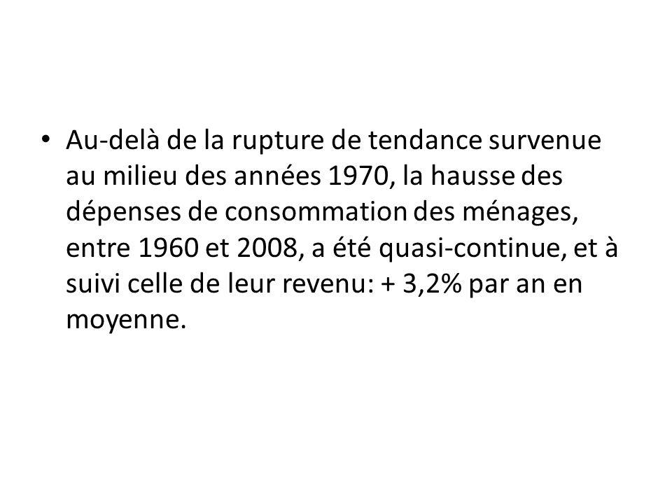 Au-delà de la rupture de tendance survenue au milieu des années 1970, la hausse des dépenses de consommation des ménages, entre 1960 et 2008, a été qu