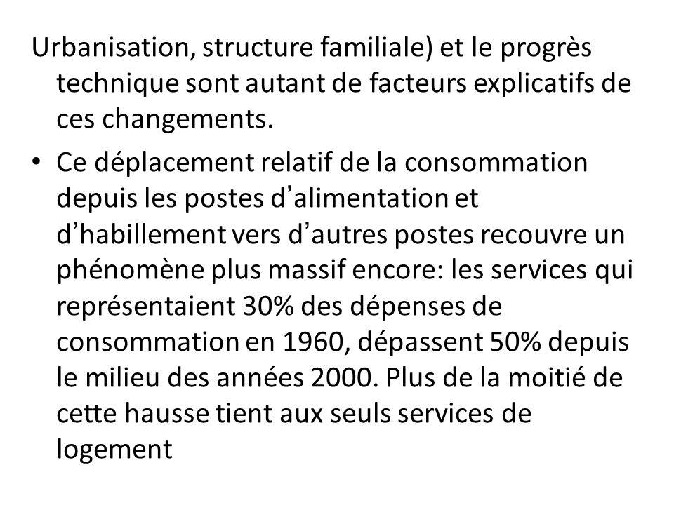 Urbanisation, structure familiale) et le progrès technique sont autant de facteurs explicatifs de ces changements. Ce déplacement relatif de la consom
