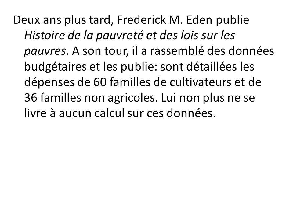 Deux ans plus tard, Frederick M. Eden publie Histoire de la pauvreté et des lois sur les pauvres. A son tour, il a rassemblé des données budgétaires e