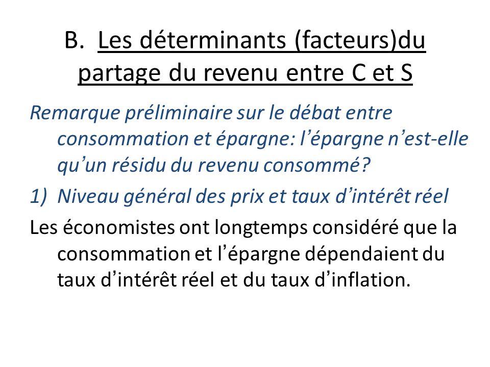 B. Les déterminants (facteurs)du partage du revenu entre C et S Remarque préliminaire sur le débat entre consommation et épargne: lépargne nest-elle q