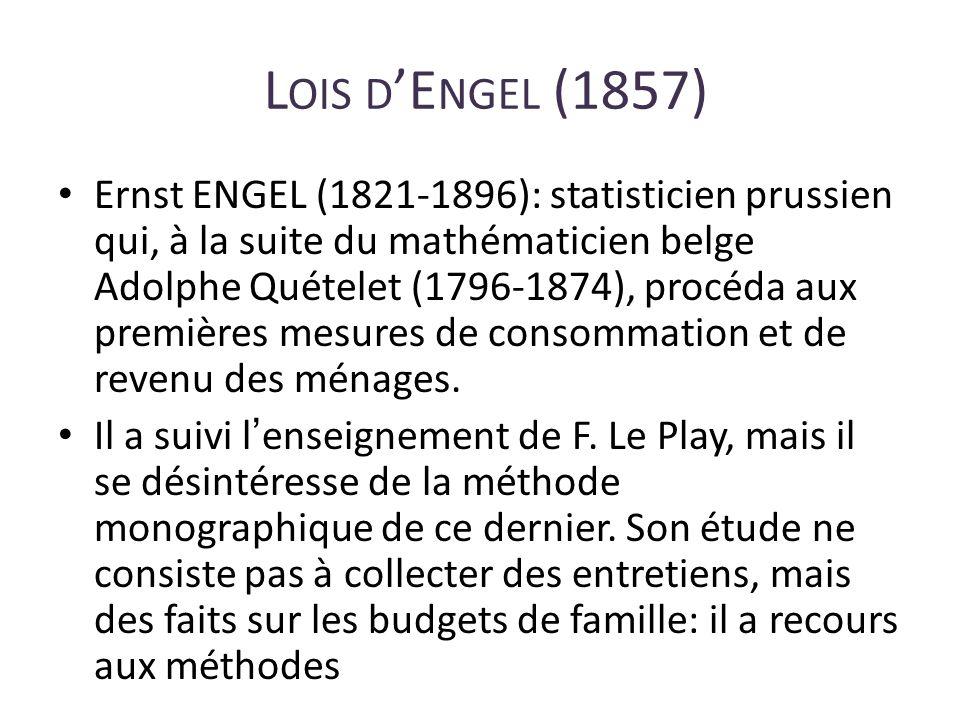 L OIS D E NGEL (1857) Ernst ENGEL (1821-1896): statisticien prussien qui, à la suite du mathématicien belge Adolphe Quételet (1796-1874), procéda aux