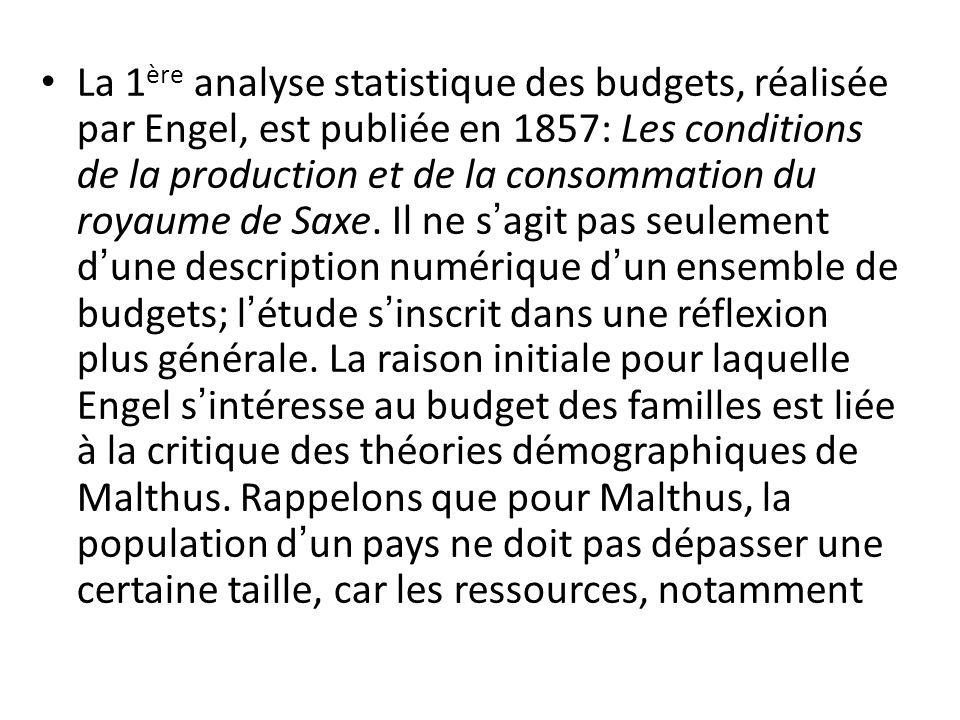 La 1 ère analyse statistique des budgets, réalisée par Engel, est publiée en 1857: Les conditions de la production et de la consommation du royaume de