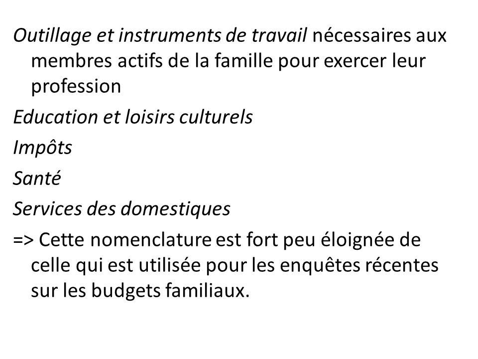 Outillage et instruments de travail nécessaires aux membres actifs de la famille pour exercer leur profession Education et loisirs culturels Impôts Sa