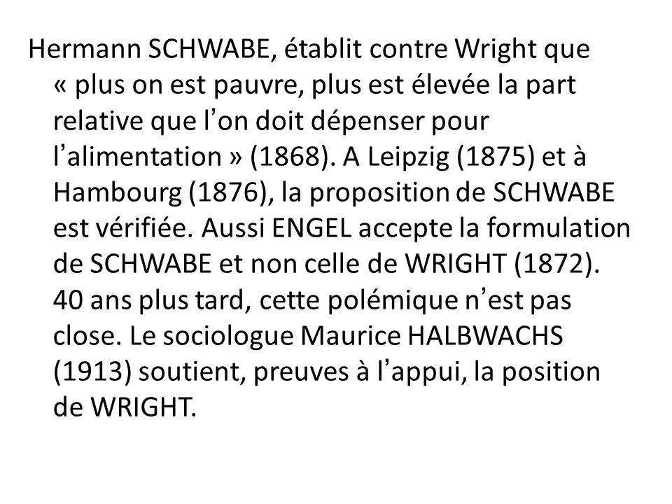 Hermann SCHWABE, établit contre Wright que « plus on est pauvre, plus est élevée la part relative que lon doit dépenser pour lalimentation » (1868). A