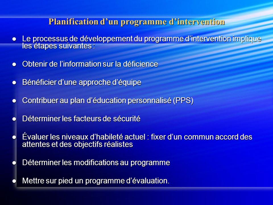 Planification dun programme dintervention Le processus de développement du programme dintervention implique les étapes suivantes : Le processus de développement du programme dintervention implique les étapes suivantes : Obtenir de linformation sur la déficience Obtenir de linformation sur la déficience Bénéficier dune approche déquipe Bénéficier dune approche déquipe Contribuer au plan déducation personnalisé (PPS) Contribuer au plan déducation personnalisé (PPS) Déterminer les facteurs de sécurité Déterminer les facteurs de sécurité Évaluer les niveaux dhabileté actuel : fixer dun commun accord des attentes et des objectifs réalistes Évaluer les niveaux dhabileté actuel : fixer dun commun accord des attentes et des objectifs réalistes Déterminer les modifications au programme Déterminer les modifications au programme Mettre sur pied un programme dévaluation.
