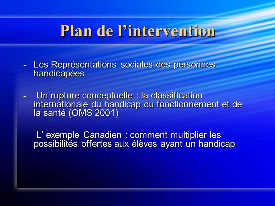Plan de lintervention - Les Représentations sociales des personnes handicapées - Un rupture conceptuelle : la classification internationale du handicap du fonctionnement et de la santé (OMS 2001) - L exemple Canadien : comment multiplier les possibilités offertes aux élèves ayant un handicap