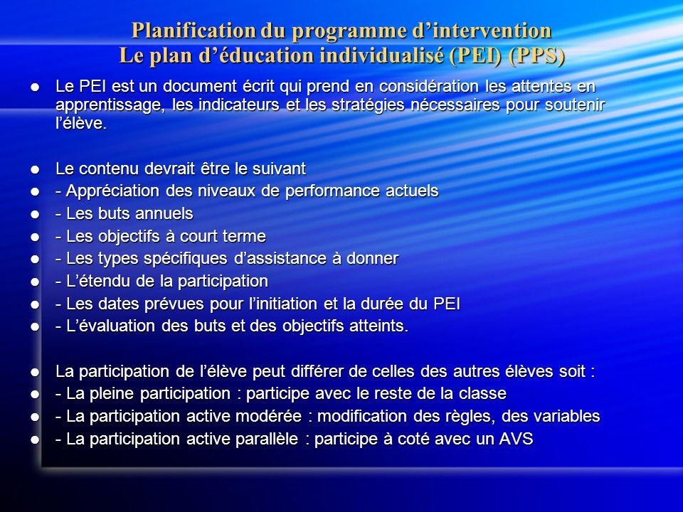 Planification du programme dintervention Le plan déducation individualisé (PEI) (PPS) Le PEI est un document écrit qui prend en considération les attentes en apprentissage, les indicateurs et les stratégies nécessaires pour soutenir lélève.