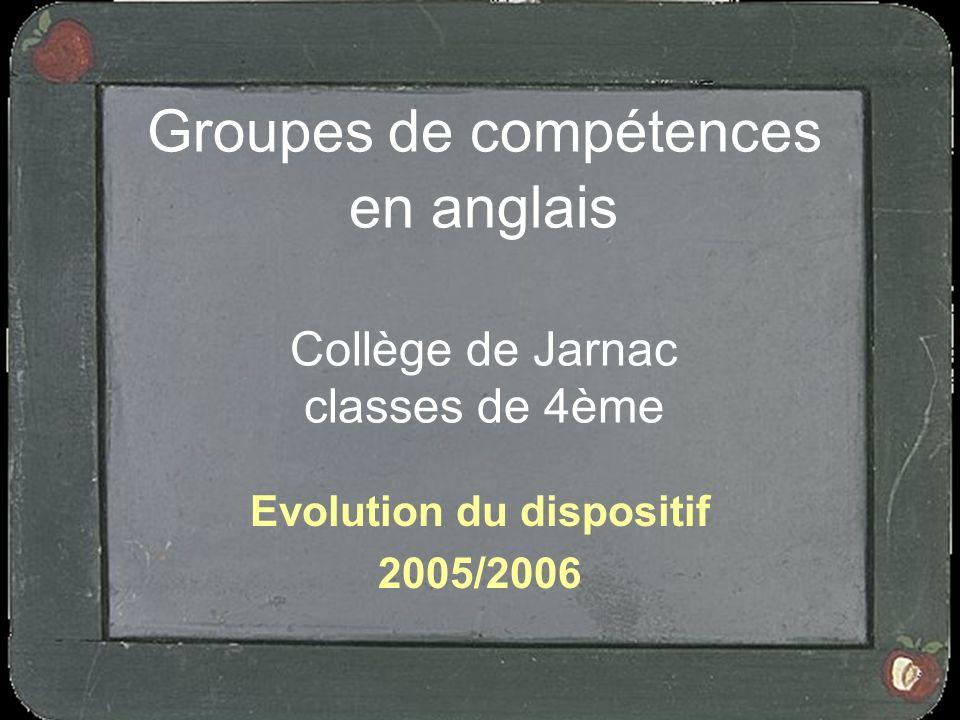Groupes de compétences en anglais Collège de Jarnac classes de 4ème Evolution du dispositif 2005/2006