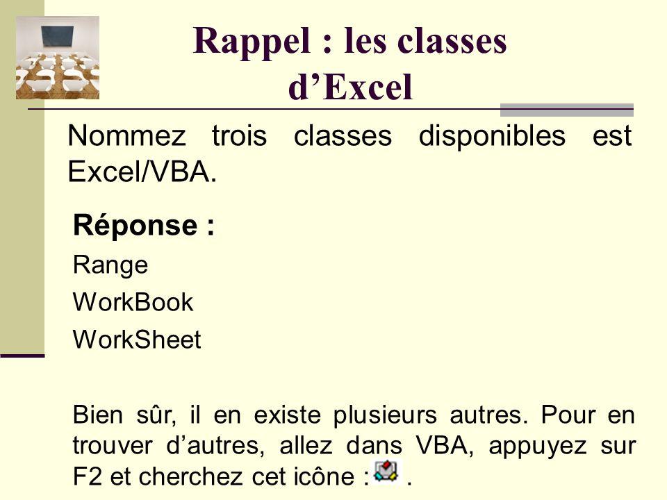 Rappel : les classes et les objets Réponse : type ! Un objet est une variable dont le type est une classe. Lobjet est à la classe ce que la variable e