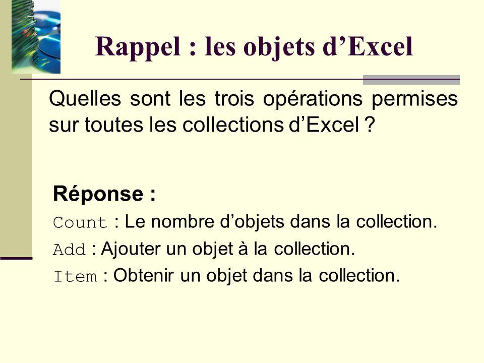 Rappel : les objets dExcel Réponse : Une collection est un regroupement dobjets. À titre dexemple, Application.WorkBooks est la collection de tous les