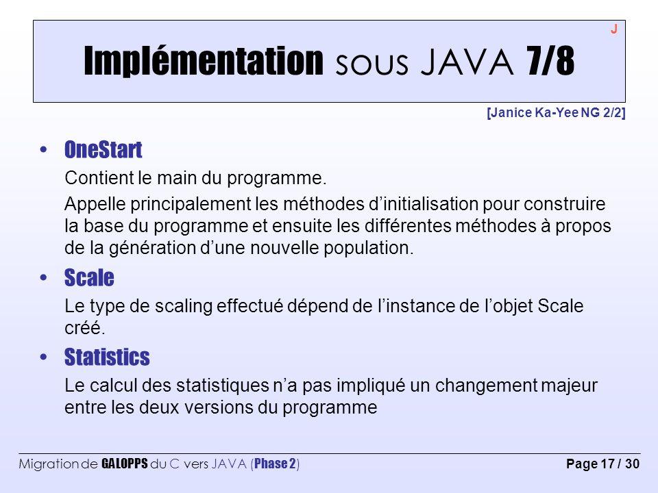 Migration de GALOPPS du C vers JAVA ( Phase 2 ) Page 18 / 30 Implémentation sous JAVA 8/8 [Yannick Solari] Parameters La classe de paramètres possède plusieurs fonctions pour lire différents groupe de paramètres.