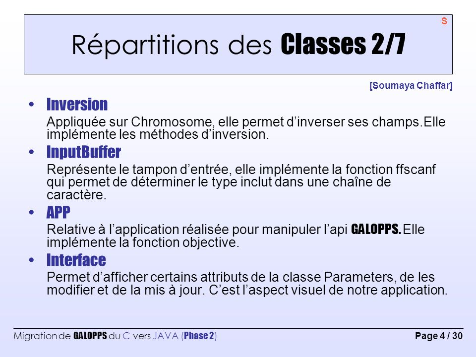 Migration de GALOPPS du C vers JAVA ( Phase 2 ) Page 4 / 30 Répartitions des Classes 2/7 [Soumaya Chaffar] Inversion Appliquée sur Chromosome, elle pe