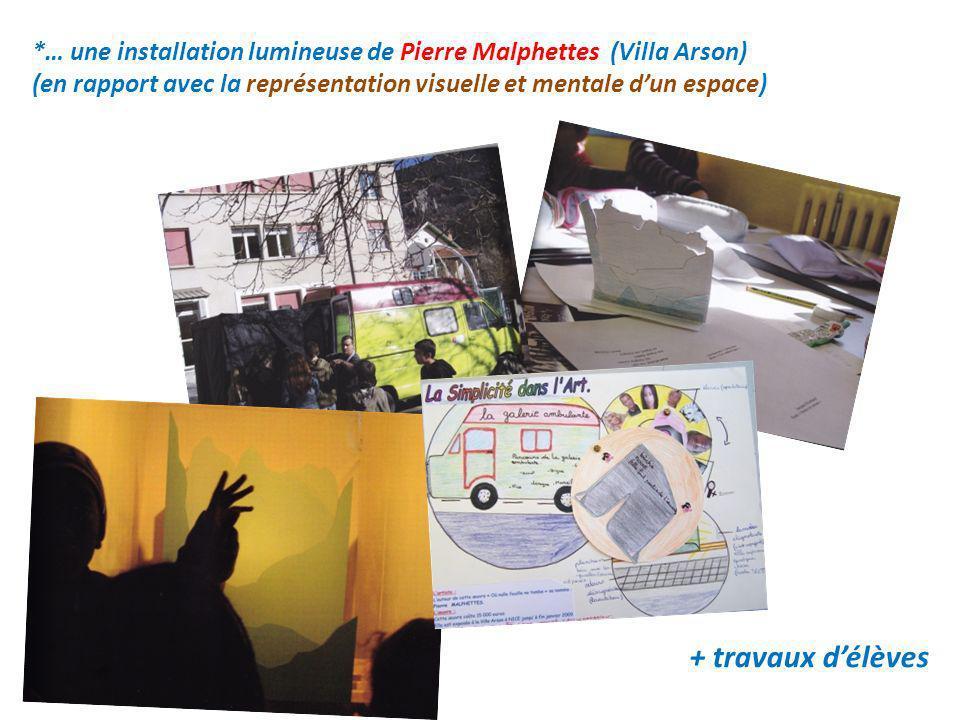 + travaux délèves *… une installation lumineuse de Pierre Malphettes (Villa Arson) (en rapport avec la représentation visuelle et mentale dun espace)