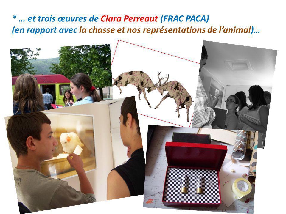 * … et trois œuvres de Clara Perreaut (FRAC PACA) (en rapport avec la chasse et nos représentations de lanimal)…
