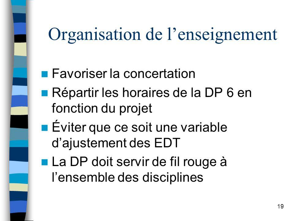 19 Organisation de lenseignement Favoriser la concertation Répartir les horaires de la DP 6 en fonction du projet Éviter que ce soit une variable dajustement des EDT La DP doit servir de fil rouge à lensemble des disciplines