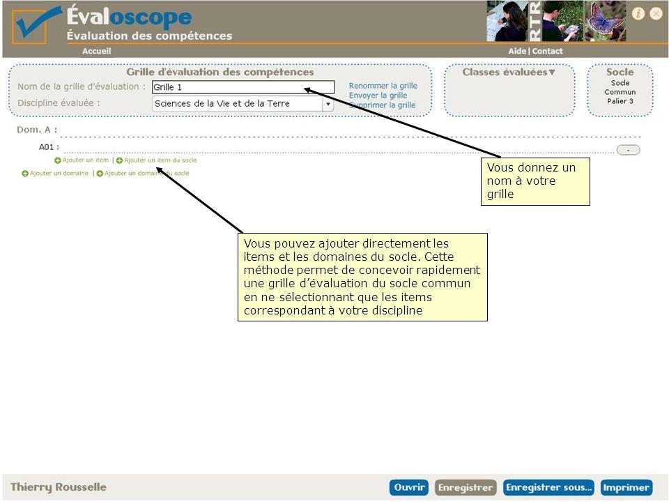 Vous donnez un nom à votre grille Vous pouvez ajouter directement les items et les domaines du socle.