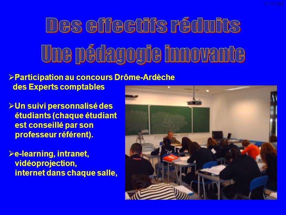Participation au concours Drôme-Ardèche des Experts comptables Un suivi personnalisé des étudiants (chaque étudiant est conseillé par son professeur référent).