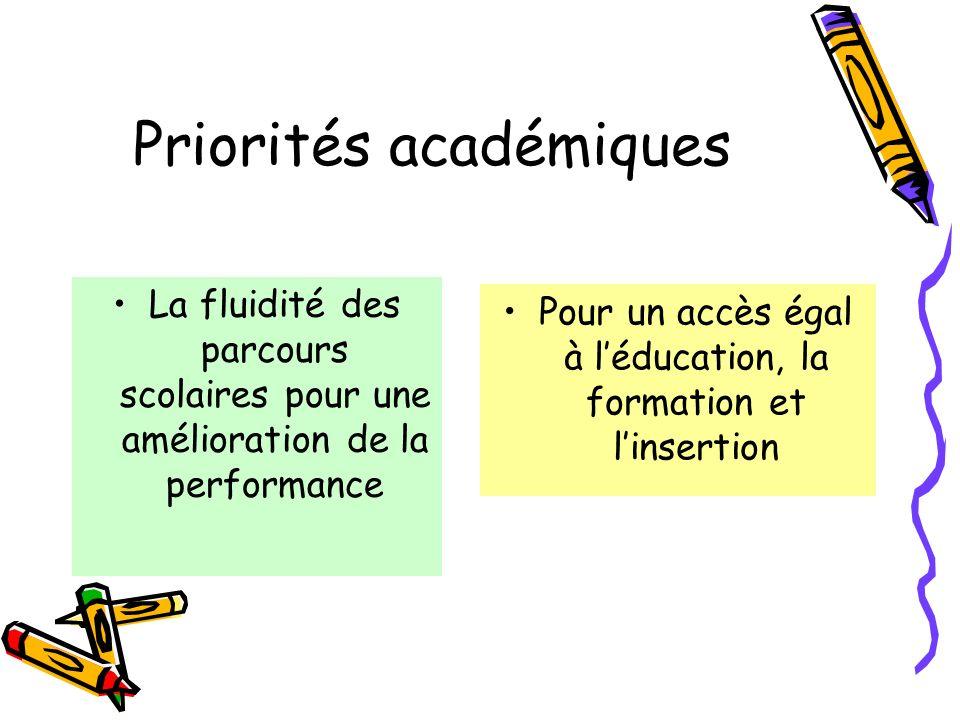 Priorités académiques La fluidité des parcours scolaires pour une amélioration de la performance Pour un accès égal à léducation, la formation et linsertion