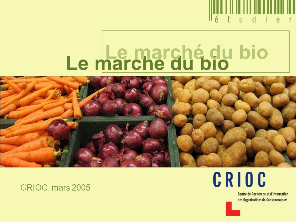 Le marché du bio CRIOC, mars 2005 Le marché du bio