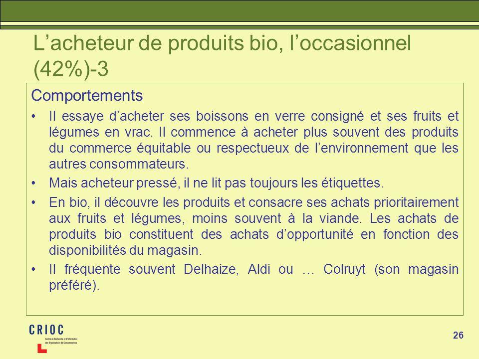 26 Lacheteur de produits bio, loccasionnel (42%)-3 Comportements Il essaye dacheter ses boissons en verre consigné et ses fruits et légumes en vrac. I