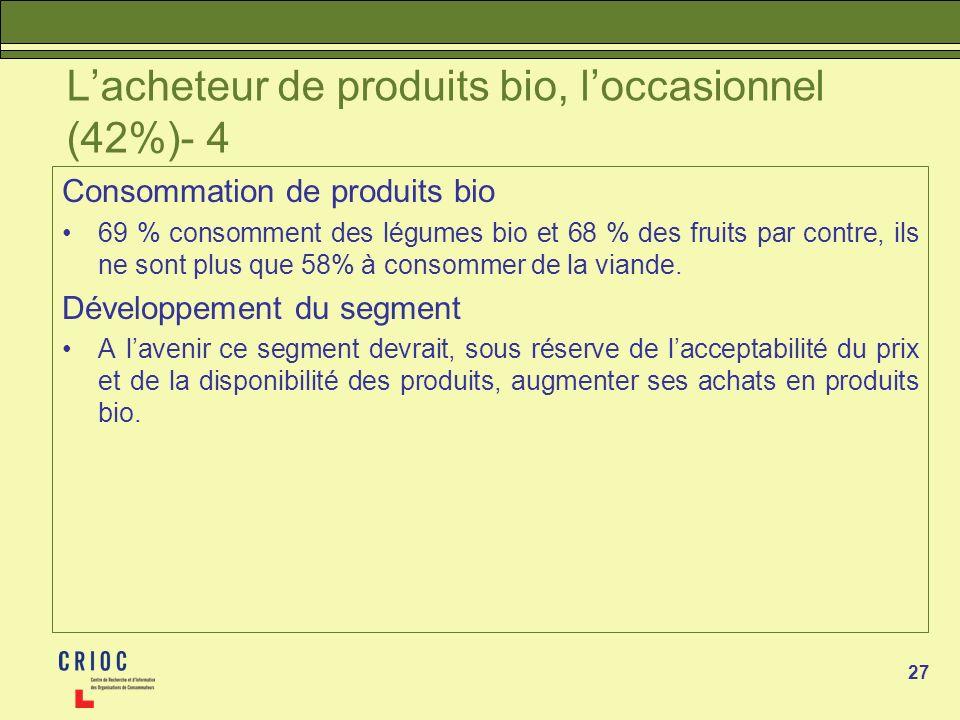 27 Lacheteur de produits bio, loccasionnel (42%)- 4 Consommation de produits bio 69 % consomment des légumes bio et 68 % des fruits par contre, ils ne sont plus que 58% à consommer de la viande.