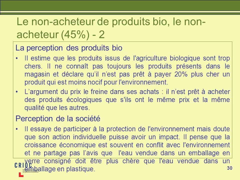 30 Le non-acheteur de produits bio, le non- acheteur (45%) - 2 La perception des produits bio Il estime que les produits issus de l agriculture biologique sont trop chers.