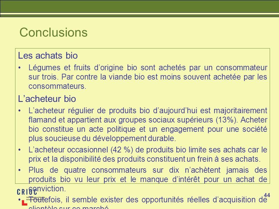 44 Conclusions Les achats bio Légumes et fruits dorigine bio sont achetés par un consommateur sur trois. Par contre la viande bio est moins souvent ac