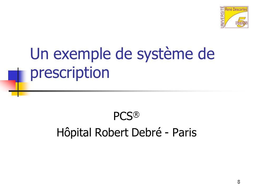 8 Un exemple de système de prescription PCS ® Hôpital Robert Debré - Paris