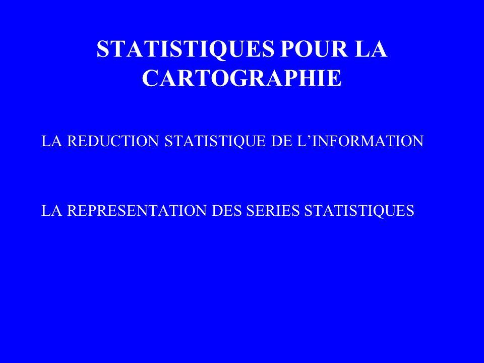 STATISTIQUES POUR LA CARTOGRAPHIE LA REDUCTION STATISTIQUE DE LINFORMATION LA REPRESENTATION DES SERIES STATISTIQUES