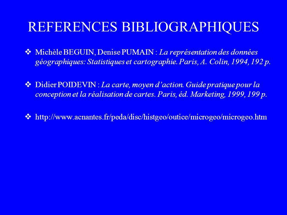 REFERENCES BIBLIOGRAPHIQUES Michèle BEGUIN, Denise PUMAIN : La représentation des données géographiques: Statistiques et cartographie. Paris, A. Colin