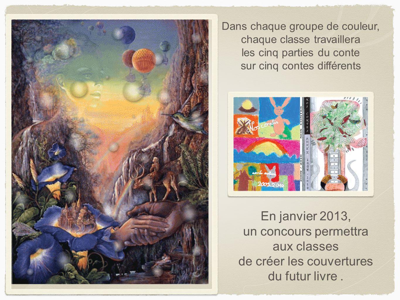 Dans chaque groupe de couleur, chaque classe travaillera les cinq parties du conte sur cinq contes différents En janvier 2013, un concours permettra a