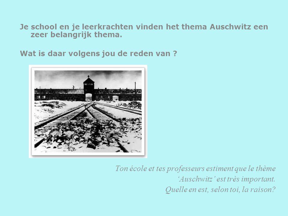 Je school en je leerkrachten vinden het thema Auschwitz een zeer belangrijk thema. Wat is daar volgens jou de reden van ? Ton école et tes professeurs