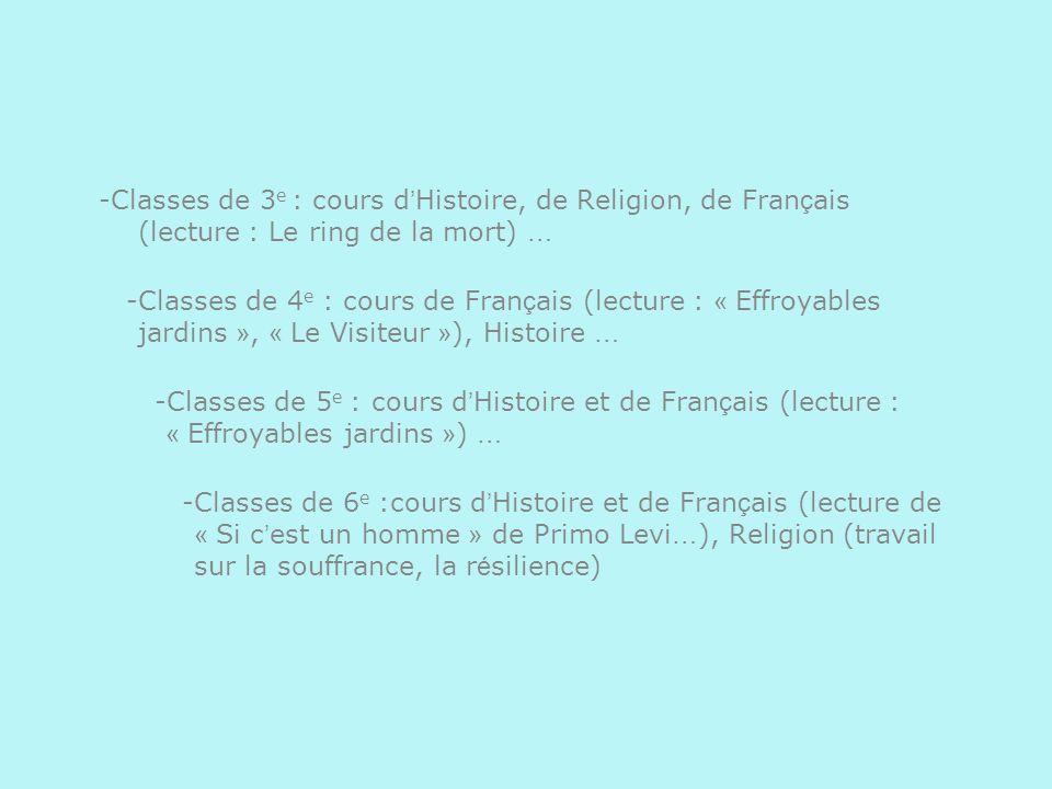 -Classes de 3 e : cours d Histoire, de Religion, de Fran ç ais (lecture : Le ring de la mort) … -Classes de 4 e : cours de Fran ç ais (lecture : « Eff